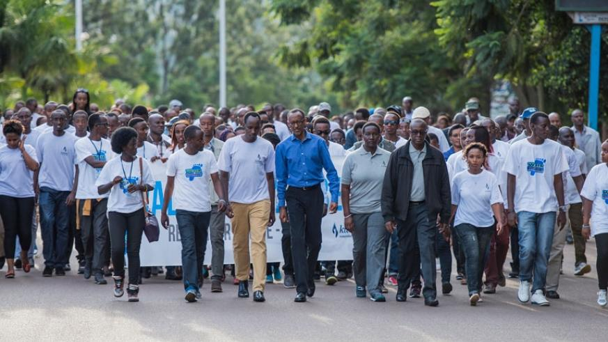President Kagame, Minister for Sports and Culture Julienne Uwacu, CNLG Executive Secretary Jean-Damascene Bizimana with Rwandans and friends of Rwanda during Walk to Remember yeste....