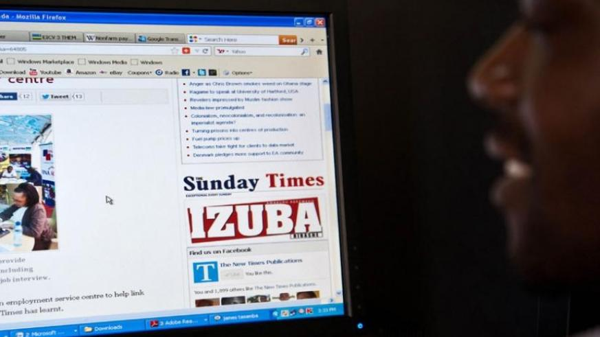 A man surfs the internet in Kigali. (File)