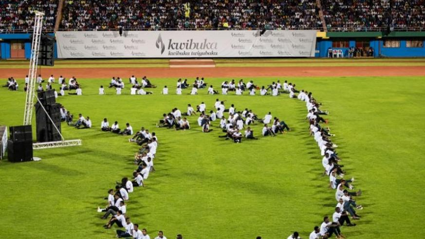 After the Walk to Remember on Saturday,  thousands of Rwandans converged at Amahoro National Stadium where President Kagame addressed them, after taking part in the Walk. (T. Kisambira)