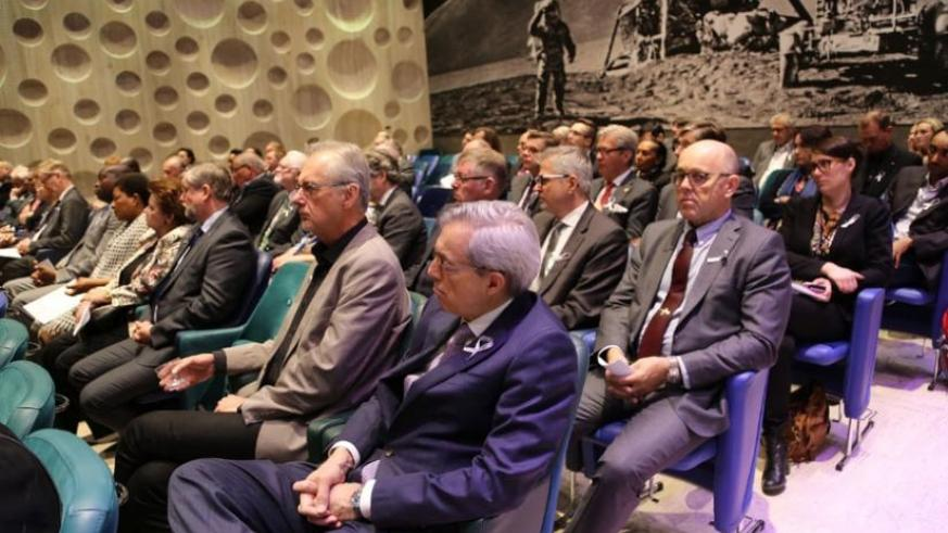 Participants at the commemoration event in Stockholm yesterday. (Courtesy)