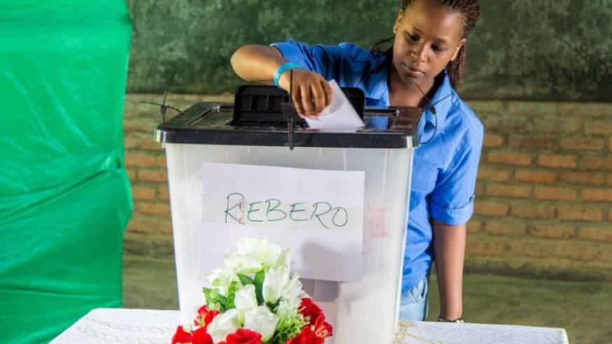 An 18-year-old resident of Rebero Village votes for the first time during the constitutional referendum at Groupe Scolaire Rugando polling station in Kimihurura last year. (File)