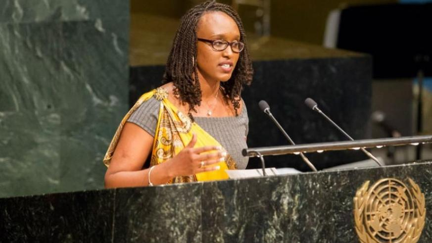 Umuhoza gives her testimony at the UN headquarters in New York on Monday. (Courtesy)