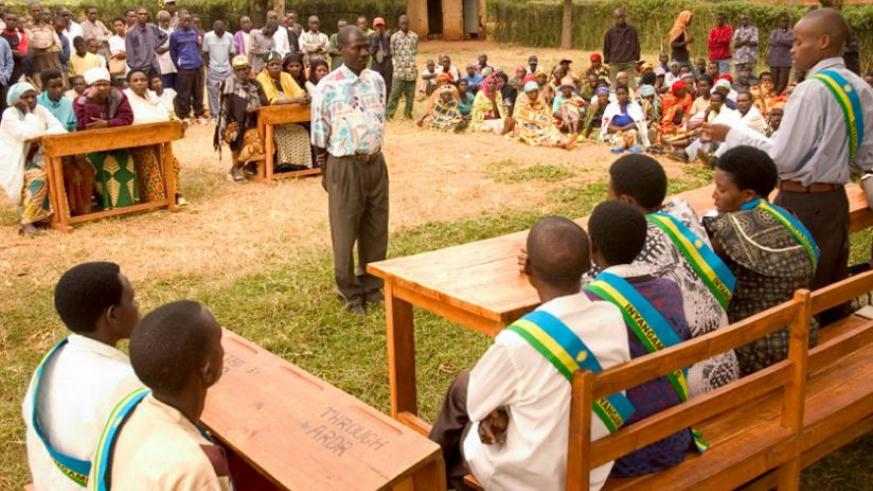 Gacaca court sessions in 2006. The documented number of cases of Genocide convicts who are yet to pay for survivors' property is over 60,000. (File)