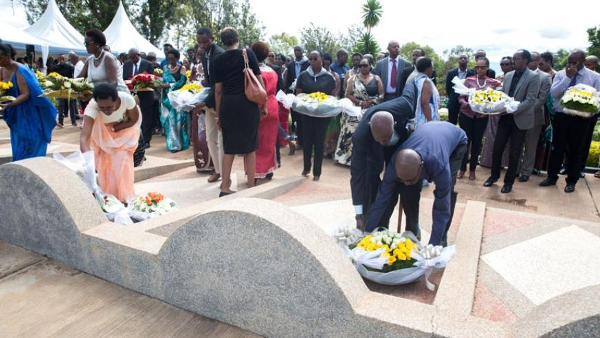 Government officials and famillies of politicians who were killed during the 1994 Genocide against the Tutsi lay wreaths at Rebero Genocide Memorial. (Courtesy)