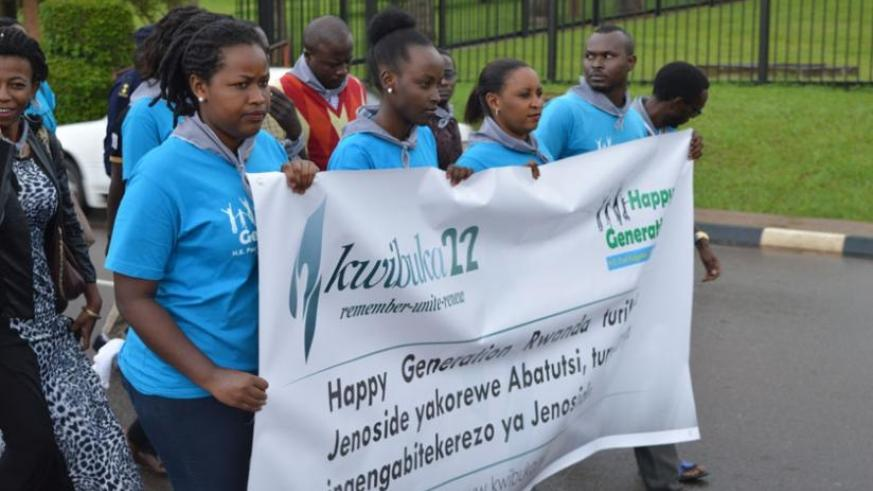 Members of Happy Generation Rwanda youth during the walk to remember from Kacyiru to Gisozi Genocide Memorial Centre. (John Mbaraga)