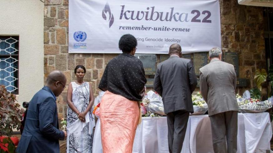 Relatives of UN staff that were killed in the 1994 Genocide against Tutsi lay wreath to pay tribute to the victims. Residents of Ruramira and Nyamirama sectors want a monument buil....