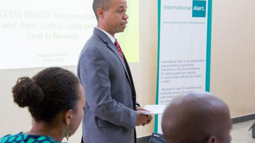 Jesse Routte, the managing director of Three Stone Consulting Ltd, gives an  insight on the research findings last week. (Doreen Umutesi)