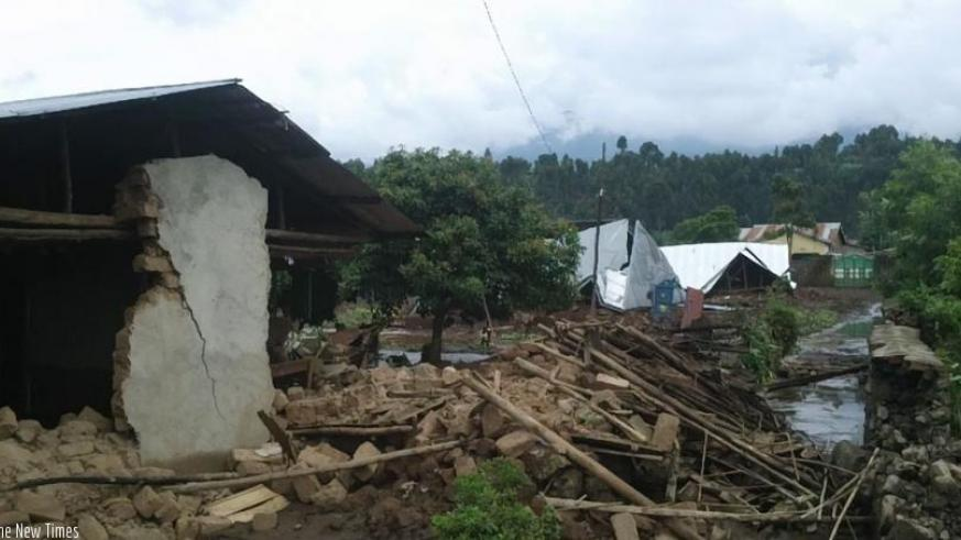 Some of the houses destroyed by heavy rains in Musanze District on Monday. (J.Mbonyinshuti)