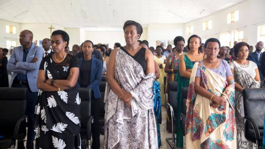 First Lady Jeannette Kagame during the Kwibuka Mass at the Mater Dei GS in Nyanza. (Courtesy)