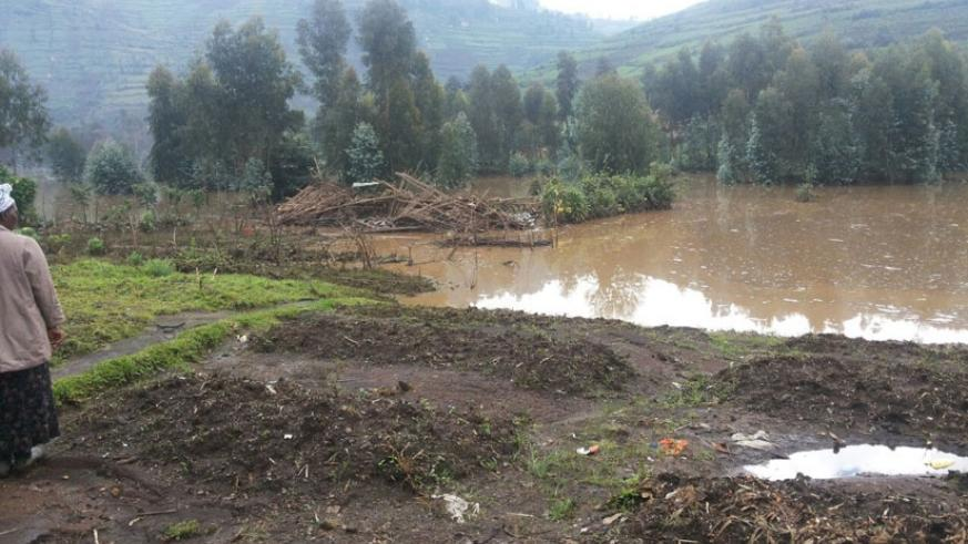 The area where some houses were flooded in Nyabihu