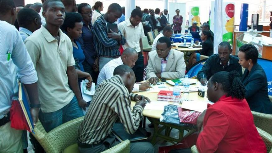 Unemployed youth meet potential employers at a 2014 job fair. Rwandans can get jobs in EAC states. (File)