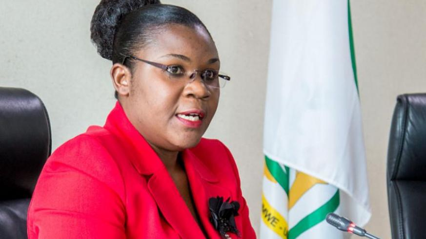 Public Service and Labour minister Judith Uwizeye briefs the media on preparations for the International Labour Day due May 1. (Doreen Umutesi)