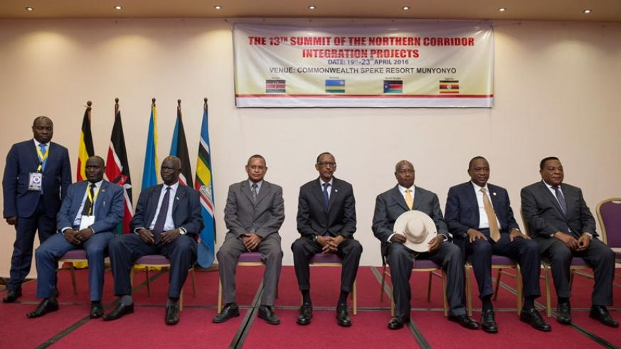 Presidents Paul Kagame, Yoweri Museveni, Uhuru Kenyatta with representatives of South Sudan, DRC, Burundi and Tanzania after the 13th summit of the Northern Corridor Integration pr....