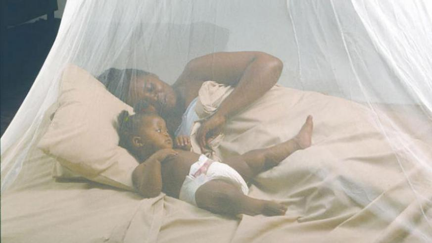 A mother with her baby under a mosquito net. (File)