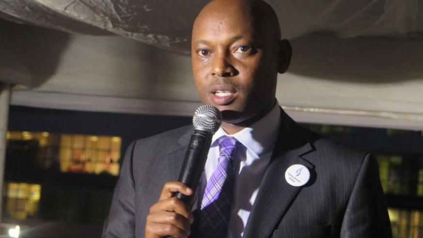 Equity Bank's Namara speaks during the commemoration event on Friday. (Frederic Byumvuhore)