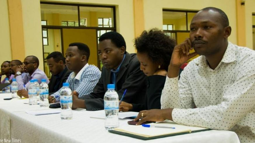 Participants follow proceedings at the workshop in Kigali yesterday. (Teddy Kamanzi)