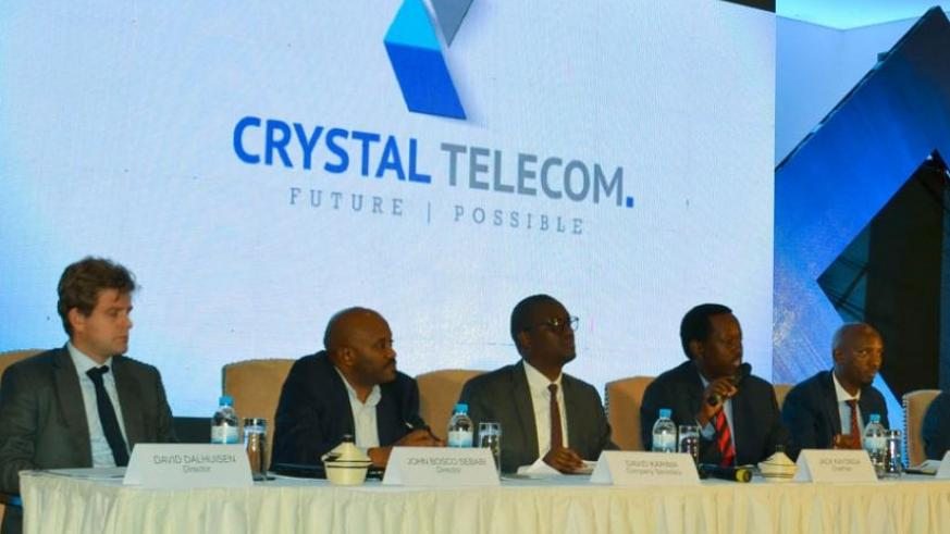 Some of Crystal Telecom Limited board members at the meeting yesterday. (Faustin Niyigena)
