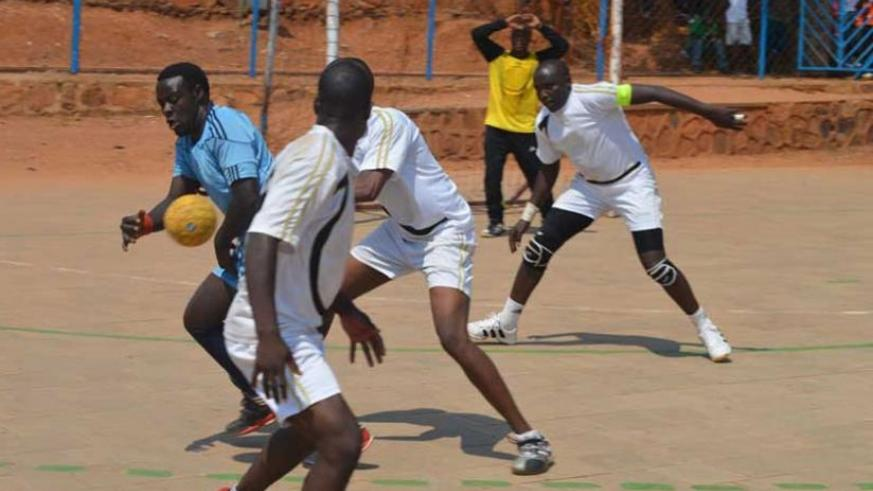 APR handball club (white), seen here in action against Police, last season. (File photo)