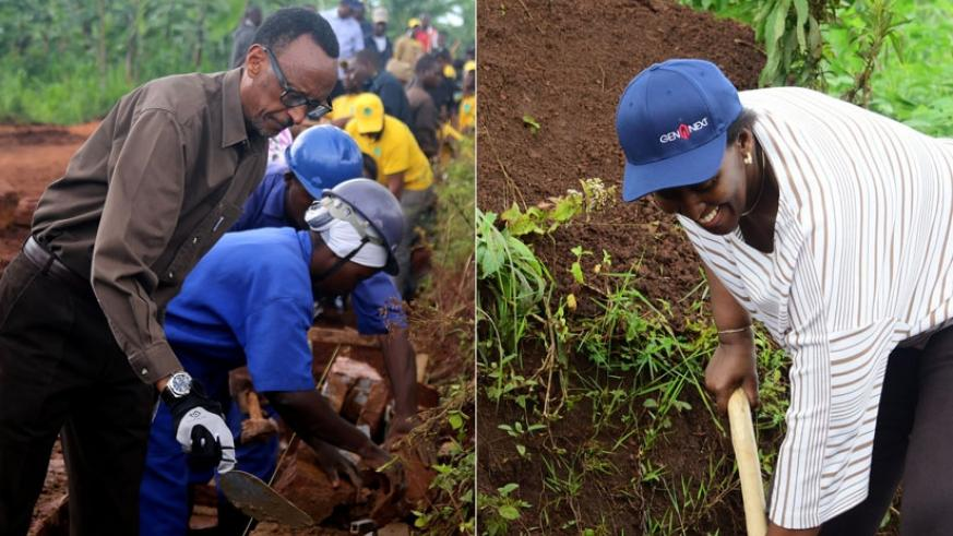 President Kagame and First Lady Jeannette Kagame join residents of Kayonza District for Umuganda yesterday. The Head of State urged residents of Kayonza to capitalize on the strate....