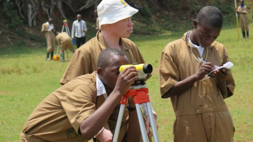 Public works students from IPRC South during a practical exam in Gisagara District last year. (File)