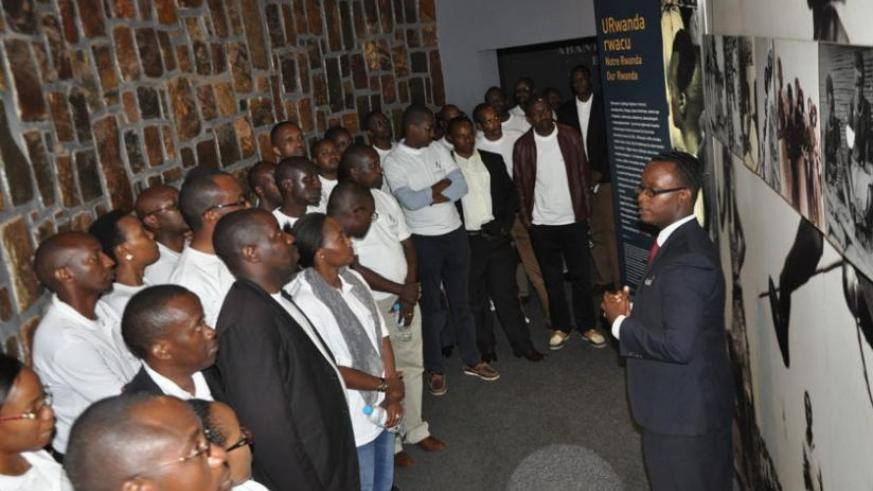 BPR employees during the tour of Kigali Genocide Memorial Centre. (Steven Muvunyi)