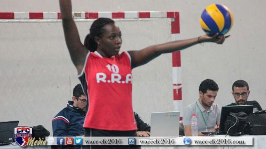 Seraphine Mukantambara prepares to  serve against Egyptian side Shams in the quarter-finals. (Courtesy)