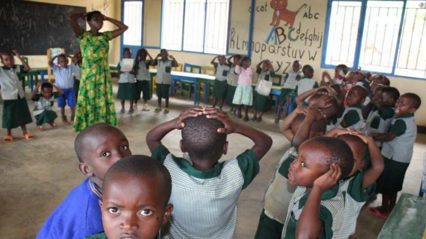 Children attend a lesson at the new facility in Murundi sector, Karong District.  (Frederic Byumvuhore)