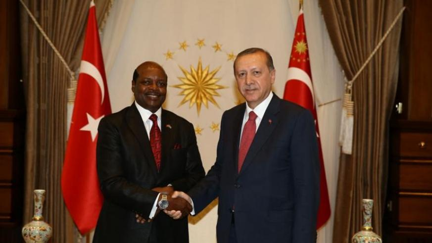 Williams Nkurunziza, Rwanda's Ambassador to Turkey  with Turkish President Recep Tayyip Erdogan. (Courtesy)