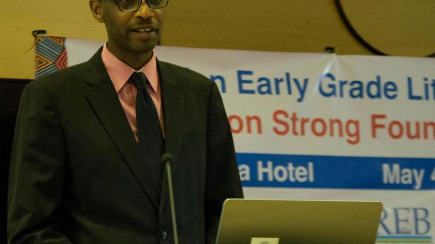 Dr Papias Musafiri, the minister for education opens the Rwandan Early Grade Literacy Instruction Conference at Serena Hotel yesterday. (Teddy Kamanzi)