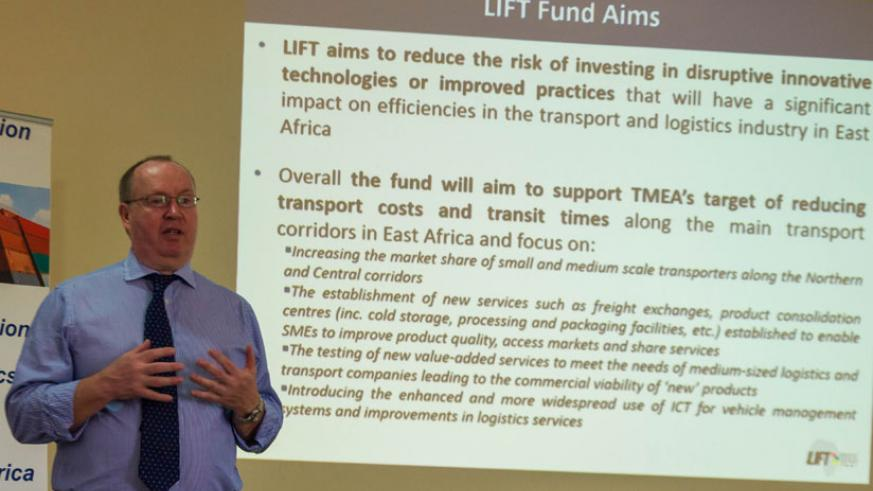 David Mitchell explains LIFT Challenge Fund aims at the launch of round two in Kigali on Thursday. (Teddy Kamanzi)
