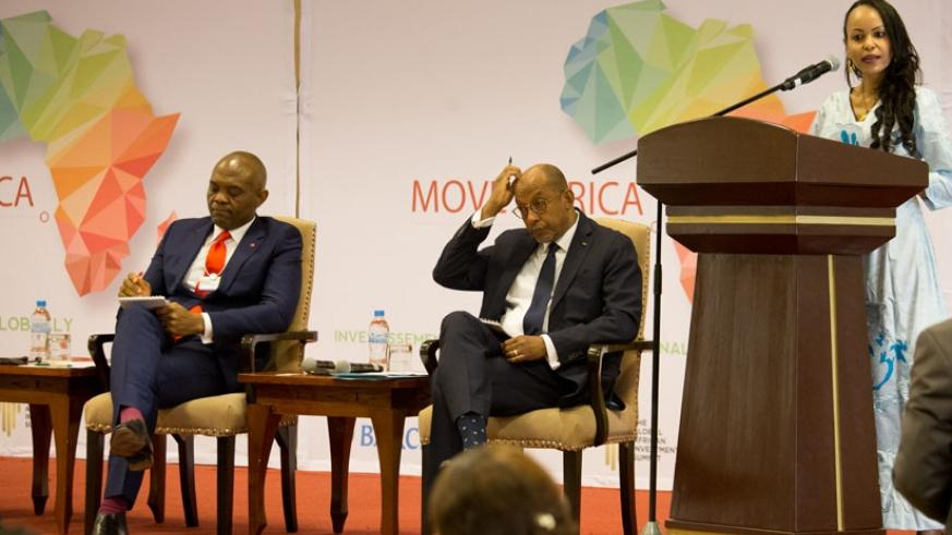 Fatima Haram Acyl, African Union Commissioner for Trade and Industry, speaks at the 'Move Africa' launch in Kigali yesterday. Left is Tony O.lumelu, Chairman Heirs Holding Nigeria ....