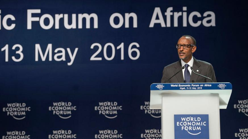 President Paul Kagame delivers his opening remarks at the World Economic Forum on Africa, in Kigali yesterday. (Village Urugwiro)