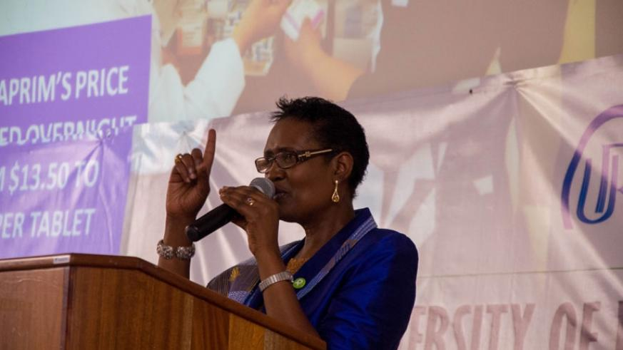 Byanyima speaks during the public lecture at the College of Business and Economics in Kigali on Tuesday. (Teddy Kamanzi)