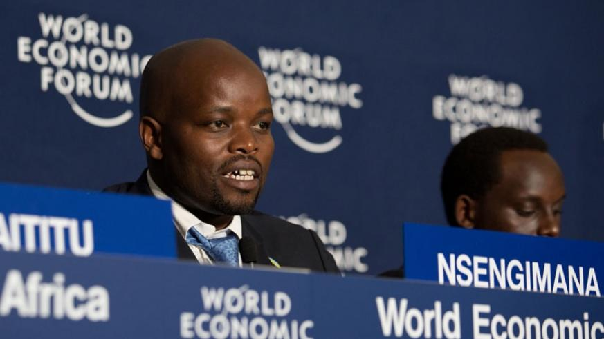 Nsengimana contributes to the topic on Internet penetration at WEF yesterday. (T. Kisambira)