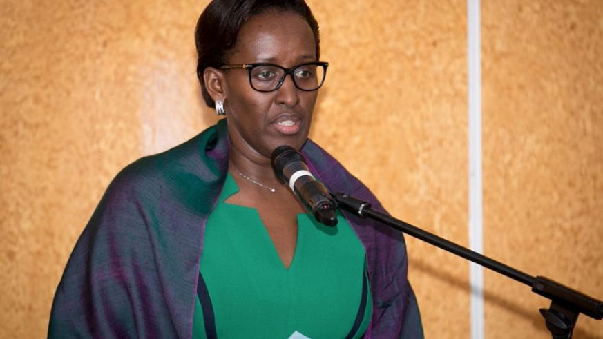 First Lady Jeannette Kagame addresses the meeting on NTDs in Kigali yesterday. (Courtesy)