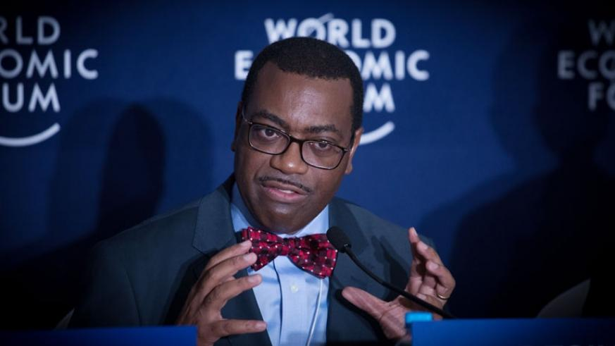 The African Development Bank President Dr Akinwumi Adesina speaks during the World Economic Forum in Kigali last week. (Timothy Kisambira)