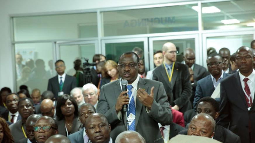 Finance minister Claver Gatete reacts to a question during the meeting. (Courtesy)