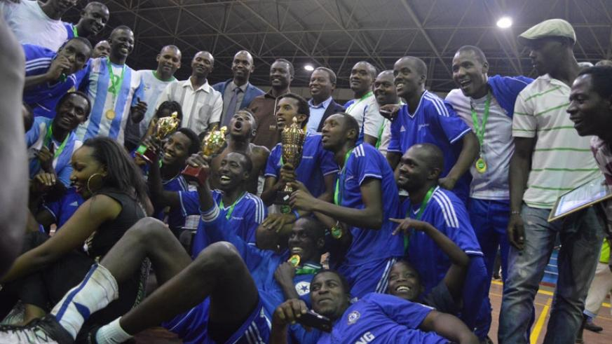 Rayon Sports  players celebrate after winning last year's tournament. They are tipped to retain the title. (File)