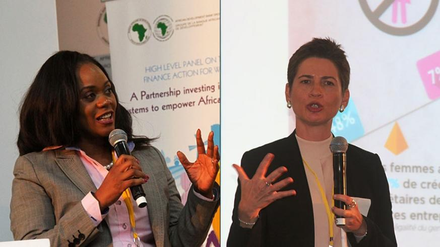 LEFT: ABSA chief executive Mzinga Melu speaks during the meeting. RIGHT: Anna Gincherman, chief product development officer at AFAWA, contributes during the panel discussion. (Courtesy)