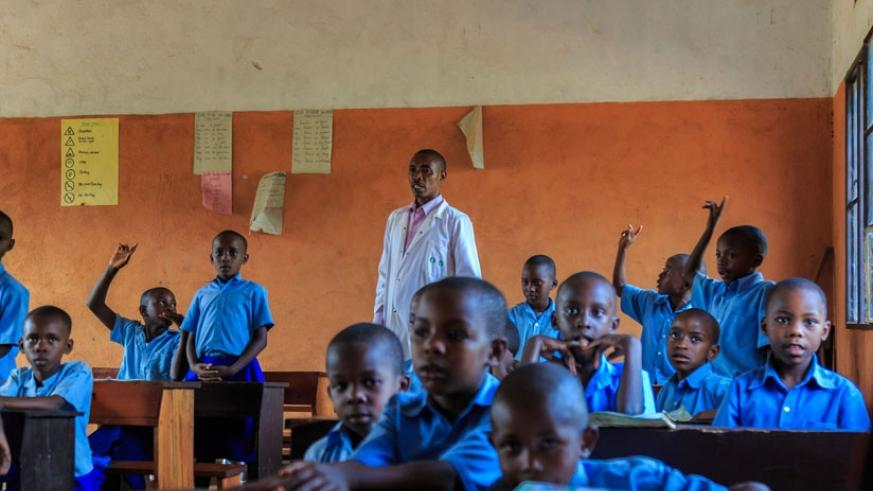 Pupils in a classroom. Teachers should encourage slow learners to participate in class activities more. (Julius Bizimungu)