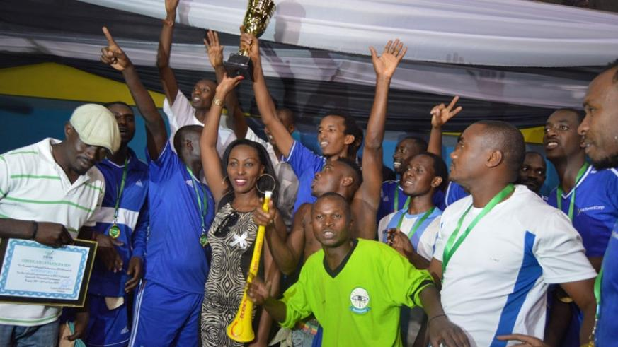 Rayon Sports players and fans celebrate after winning last year's men's edition.
