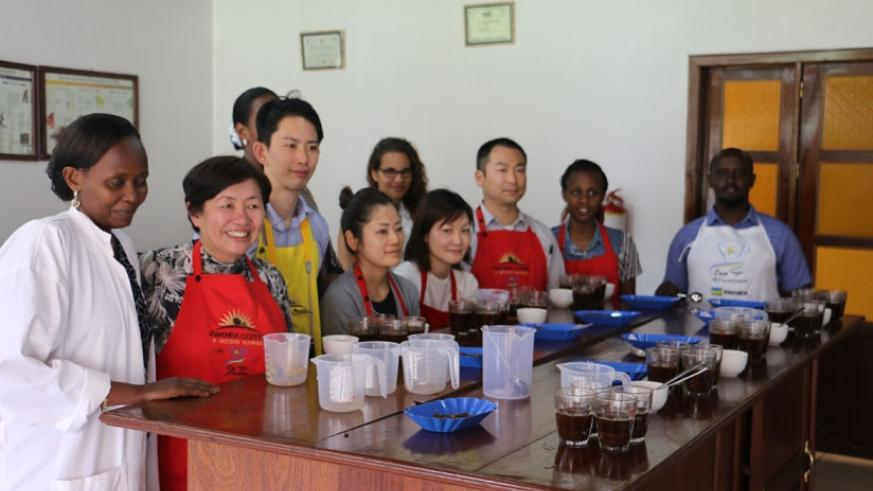 Japanese coffee roasters   experiencing Rwanda's specialty coffee. The coffee experts tipped farmers on value addition and quality along value chain. (Peterson Tumwebaze)