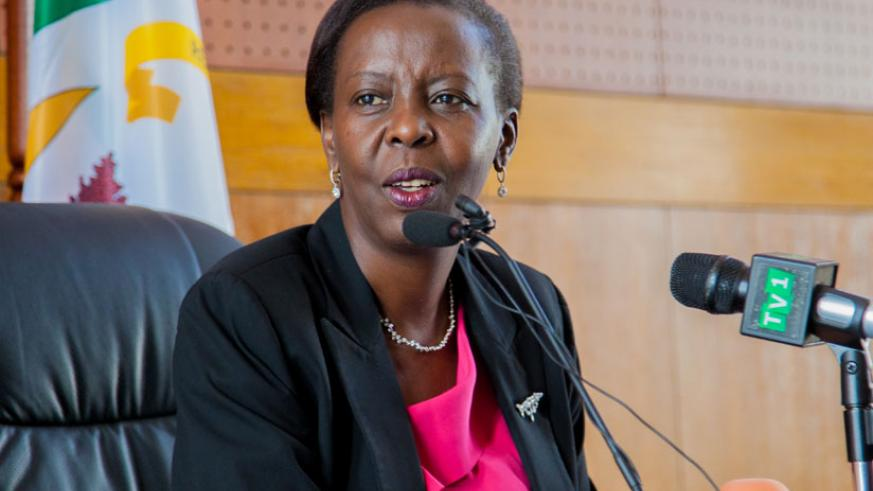 Foreign Affairs minister Louise Mushikiwabo addresses local and international media at her office in Kigali yesterday. (Faustin Niyigena)