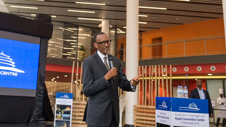 President Kagame speaks at the inauguration of the Kigali Convention Centre yesterday. The President said that true to Rwandan spirit, the Rwf223 billion project failed not once, or twice, but three times before it hit the perfect tonic and has been completed because Rwandans keep learning from their failures. (Village Urugwiro)