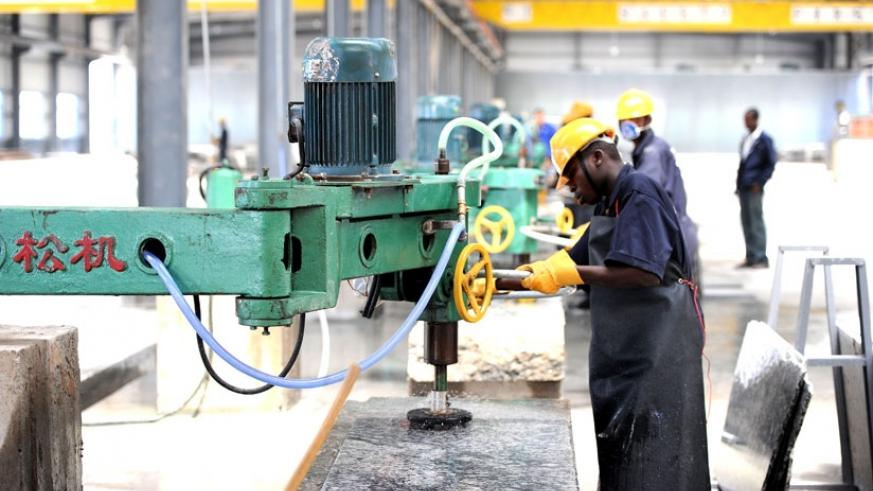 A worker at the East AFrican Granite factory in Nyagatare Disrict. (File)