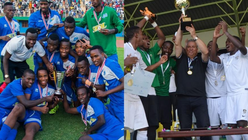 LEFT: Rayon Sports players celebrate the Peace Cup victory with the trophy after defeating APR FC 1-0 in the final at Amahoro Stadium on Monday. / Nadege Imbabazi. | RIGHT: APR pla....