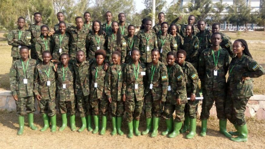 Intore from Isibo Urugerero pose for a group photo at the Gabiro School of Infantry. / Courtesy