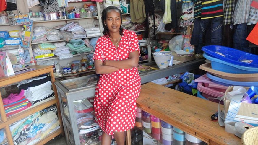 Meledah Twahira in her shop in Kigali. Women in business are seeking more involvement in EAC trade. / File.