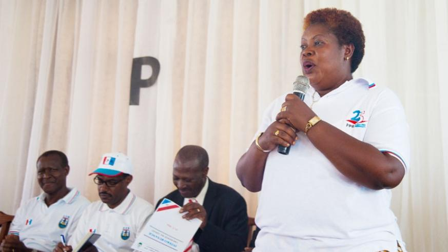 ‎Mukangarambe shares her testimony during the general assembly of RPF members in Gisozi sector in Gasabo on Saturday. / Nadege Imbabazi.