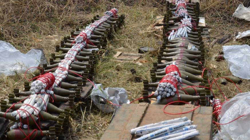 Some of the explosives that were destroyed on Thursday at Gabiro Combat Training Centre.  / Steven Muvunyi